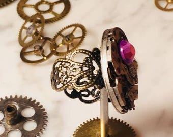 Handmade custom steampunk watch ring