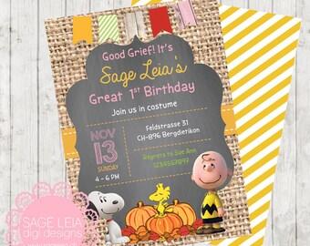 Custom Printable Peanuts Snoopy Great Autumn Fall Pumpkins Burlap Invite Card