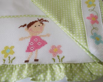 Baby Bed sheet embroidered with cross stitch.