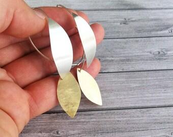 Silver hoop leaf earrings -Silver and brass hook earrings -contemporary jewellery-leaf shape dangle & drop earrings-boho silver earrings