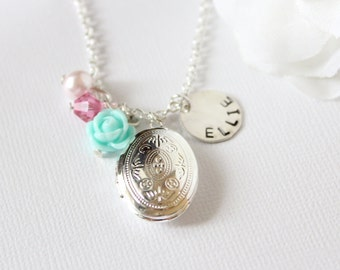 Girls Locket Necklace, Personalized Sterling Silver Name Charm, Silver Oval Locket, Girls Necklace, Flower Girl Gift, Personalized Gift