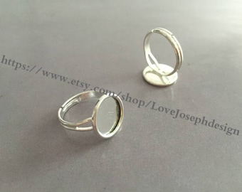 wholesale 100 Pieces /Lot bright Silver plated Adjustable 12mm pad bezel ring blanks(#0383)