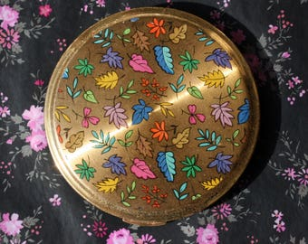 Vintage 'Darling' (Kigu) Colourful Leaves Gold Tone Powder Compact 1970s
