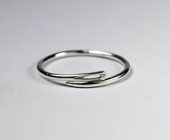 Solid sterling silver thin needle ring
