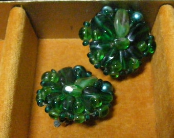 Vintage Beaded Earrings EMERALD GLASS West Germany Clip Green