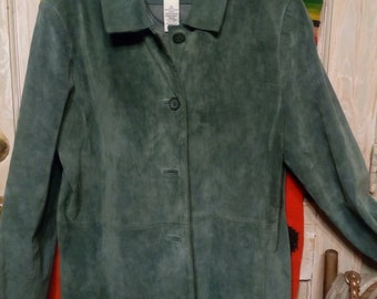Vintage Olive Green  Suade Leather Stroller Jacket..Fully Lined..Size 16