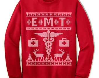 EMT Ugly Christmas Sweater. Emergency Medical Technician Sweater. Gift. Ugly Sweater. Tacky. Jumper. Ugly. Pullover. Christmas.