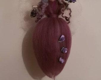 Amethyst fairy, Needle Felt Fairy, Hanging Fairy, wool fairy, Waldorf Inspired, Fairy Decoration