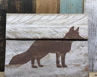 Animal wall art, animal painting, animal wood art, fox painting, octopus painting