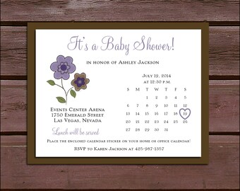 25 PURPLE & BROWN DAISIES  Baby Shower Invitations set - Price includes personalization and printing and Free Calendar stickers