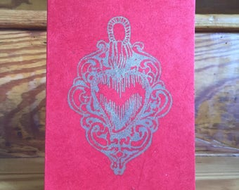 Silver Sacred Heart Print on Red Handmade Paper Card