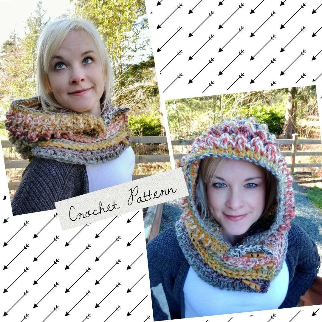 Crochet scoodie, hood Pattern, Chunky hooded Cowl, Chunky Yarn ...