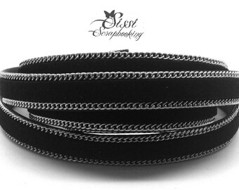 20cm cord flat faux leather suede black chain BRACELET creating 10 x 2.8 mm