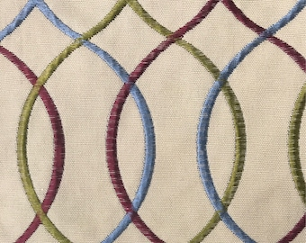 Interlocking Embroidered Upholstery Fabric - Red - Green - Blue - Upholstery Fabric By The Yard