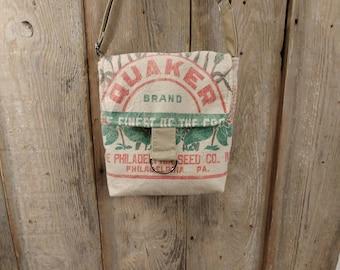 Vintage Philadelphia Quaker seed sack mid size cross-body
