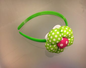 Cute green/pink flower headband
