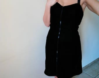Woman DRESS 90s ZIPPER Dress HALTER Strap Mini-Dress Black Velvet Crossed Straps Gros-Grain Roses sz. 42