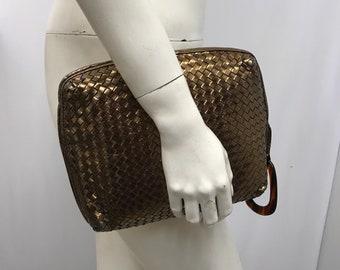 Vintage BOTTEGA VENETA WOVEN Leather Clutch Bronze Wristlet