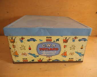 Charming Antique C.W.S. Toyland Assorted Biscuit Tin