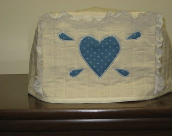 2 slice toaster cover country blue heart design