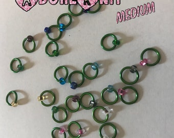 Design YOUR OWN Ring Stitch Markers, ring markers, notions, Green Stitch markers, knitting, gift, bracelet, necklace,stitchmarkers