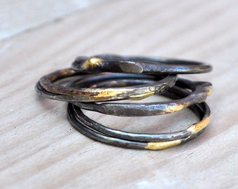 handmade oxidized sterling silver stackable ring with 14k solder