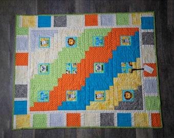Childrens log cabin quilt