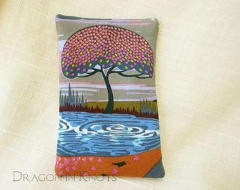 Tree Pocket Tissue Cover - Small Holder for To Go Facial Tissue Packet, pond, bird, fantasy landscape, pink, violet, blue, orange, travel
