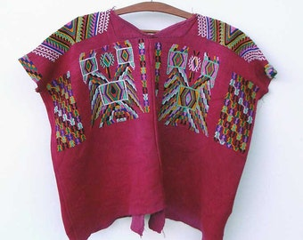 Ethnic Clothing | Vintage Boho Blouse | Red Authentic Guatemalan Huipil from Chajul | Festival wear