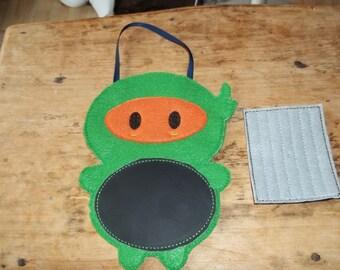 Felt Ninja chalkboard buddy. Ninja Toy, Travel Toy , Chalkboard