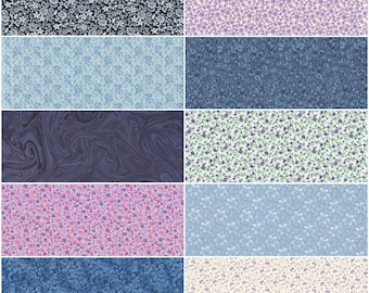 Fat Quarter Bundle. Lot of 10 Ditzy Small Floral Calico Fat Quarters in Blues and Purples. Quilting, Sewing and Craft Project Cotton Fabric.