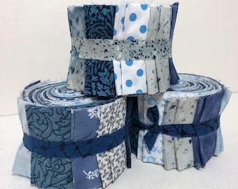 Jelly Roll Blue Quilt Strips,  Prints- 2.5 inch wide, 20 strips each roll - Supplied by ArtisticFun