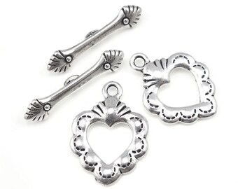 Antique Silver Toggle Clasp Findings TierraCast SACRED HEART Clasp Sets Silver Heart Toggle Findings Silver Bracelet Clasp (PF385)