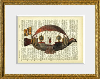 FLYING MACHINE recycled book page art print - upcycled antique dictionary page with a retooled antique flight illustration - wall art