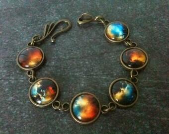 Space bracelet, nebula bracelet, galaxy bracelet, universe jewelry, solar system, orange black blue, astronomy gift idea, geek jewelry