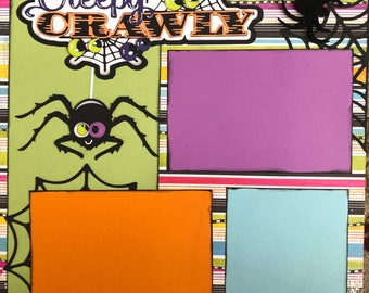 12X12 Premade 2 Page Layout Creepy Crawly Scrapbook, Scrapbook pages, Scrapbooking
