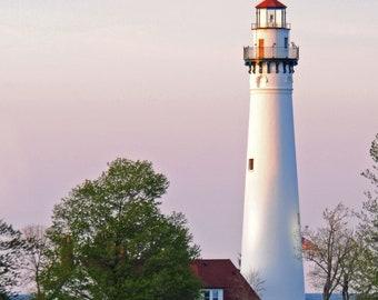 Lighthouse Photos // Lake Michigan Lighthouse Photos // Sunset Lighthouse Photo //Wisconsin Photos // Wind Point Lighthouse // Digital