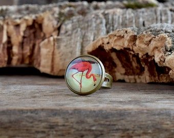 Flamingo ring, Flamingo jewelry, Coral pink bird ring, Tropical print ring, Pink flamingo bird jewelry, Exotic animal ring, Summer TJ 070