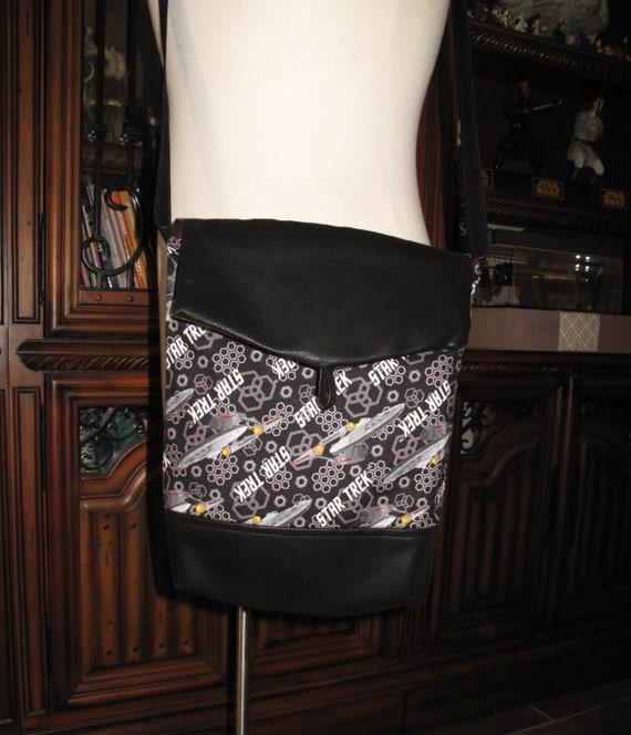 Star Trek Enterprise ship print unisex shoulder bag or crossbody bag size 14x11x3 or 18x13x3