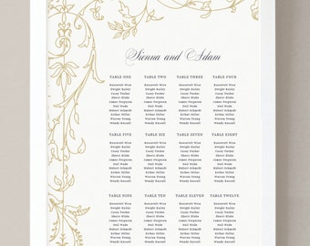 INSTANT DOWNLOAD | Printable Seating Chart Poster Template | Regatta | Word or Pages | 18x24 | Editable Artwork Colors