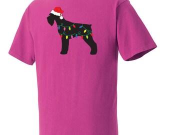 Christmas Schnauzer Garment Dyed Cotton T-shirt