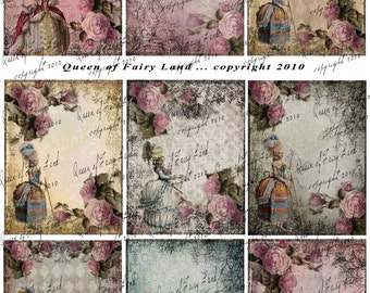 Digital Collage Sheet, Victorian Lady cards, tags, Scrapbooking, Vintage Printable, Digital Paper, Marie Antoinette, mixed media, ATC Cards,