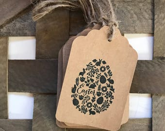 Easter paper tags easter favor tags handstamped tags easter package tags