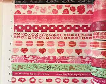 Valentine's Day Washi Samples; Love Washi Samples; Pink Washi
