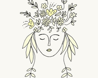 Flower Girl of Spring. Ink Scetch A4 art print photographic matte, Greek artist