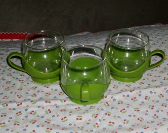 3 Melitta Vintage Retro Green Plastic and Glass Mugs Cups Made in Germany