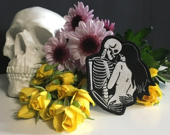 Only Lovers Left Alive Patch / Love Death and the Maiden / Skeleton Skull Art Patch / Embroidered Patch