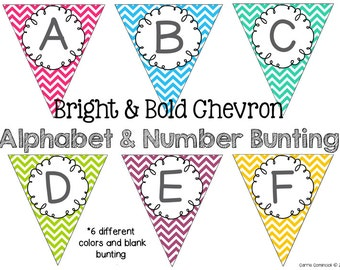 Bright and Bold Chevron Alphabet and Number Bunting