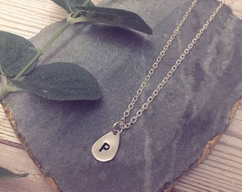Gold, Rose Gold or Silver Plated Raindrop / Teardrop Handstamped Initial Necklace