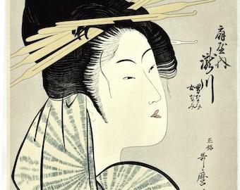 "Japanese Ukiyo-e Woodblock print, Utamaro, ""The Courtesan, Takigawa of the Ogiya"""